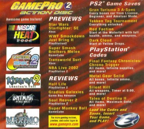 Details about gamepro 2 action disc ps1 ps2 demos gameshark sample