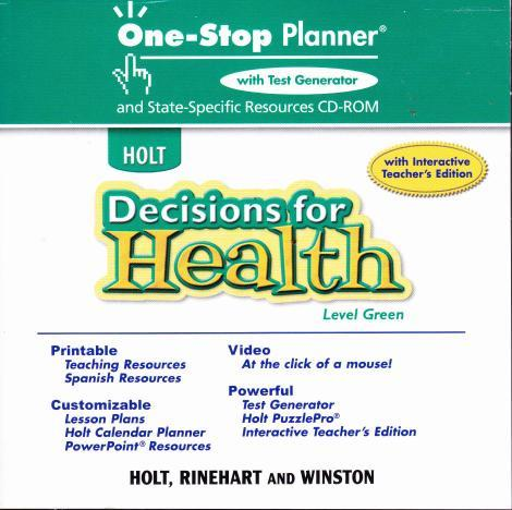 holt decisions for health one stop planner green level w manual pc mac cd tests. Black Bedroom Furniture Sets. Home Design Ideas