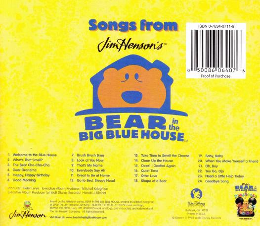 Song's From Bear In The Big Blue House CD Kids Music!