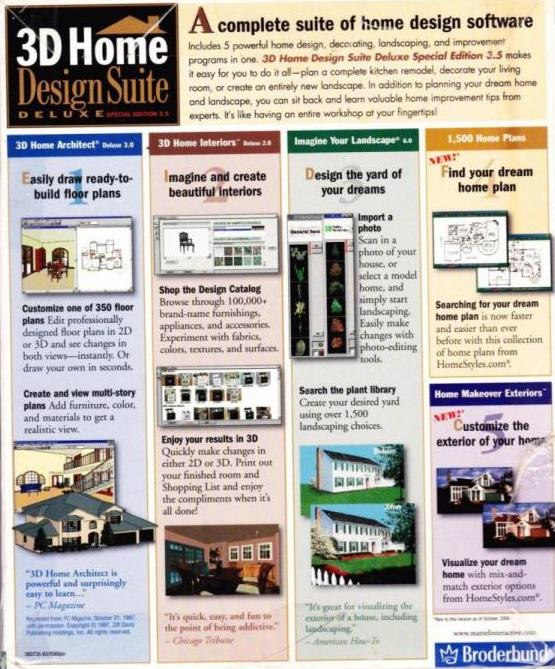 3d Home Design Suite Deluxe 3 0: 3D Home Design Suite Deluxe 3.0 W/ Home Architect 3 PC CD
