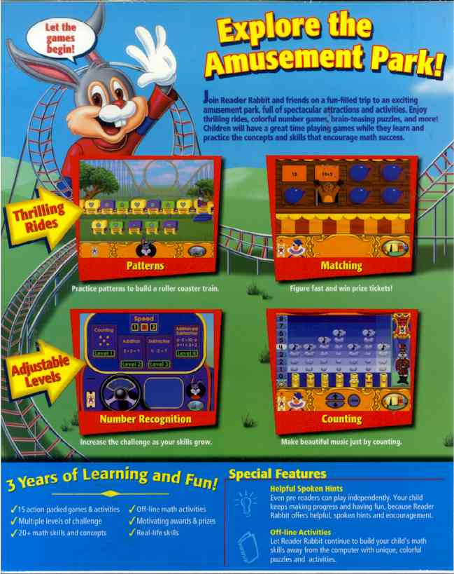 Reader Rabbit's Math Ages 4 6 PC Mac CD Learn Numbers Amusement Park Puzzle Game
