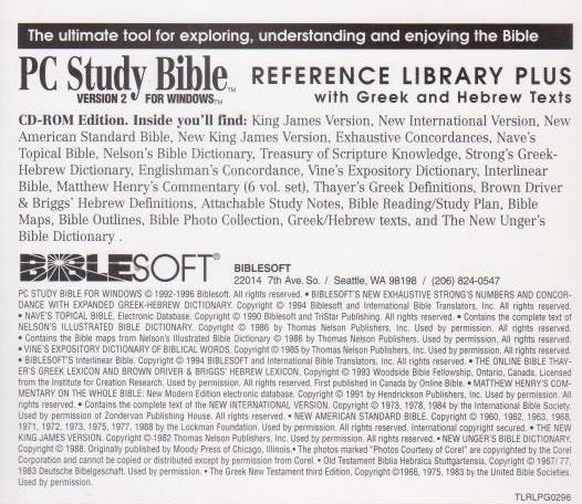 Bible Study Reference: BibleSoft PC Study Bible: Reference Library 2 W/ Greek