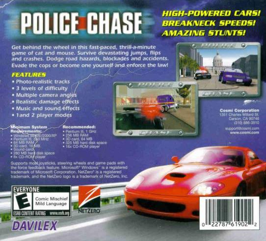 Police Chase PC CD Escape High Speed Car Pursuits Avoid