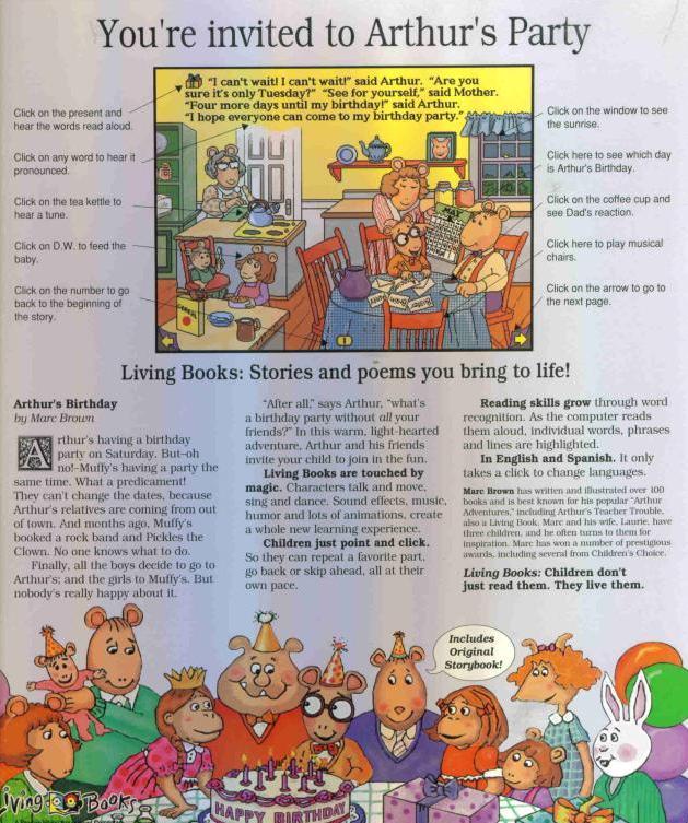 Arthur's Birthday PC MAC CD Learn Word Vocabulary Shapes