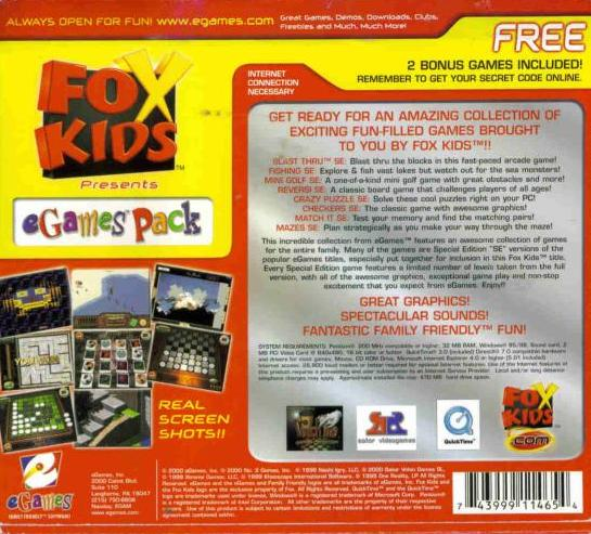 Fox Kids Presents eGames Pack PC CD game collection