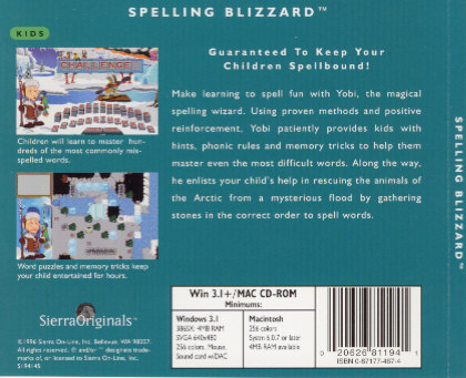 spelling blizzard pc cd children learn to spell words letter wizard