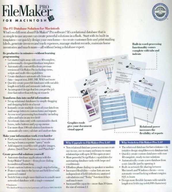 Details about FileMaker 3 0 Pro PC MAC CD professional business relational  database system!