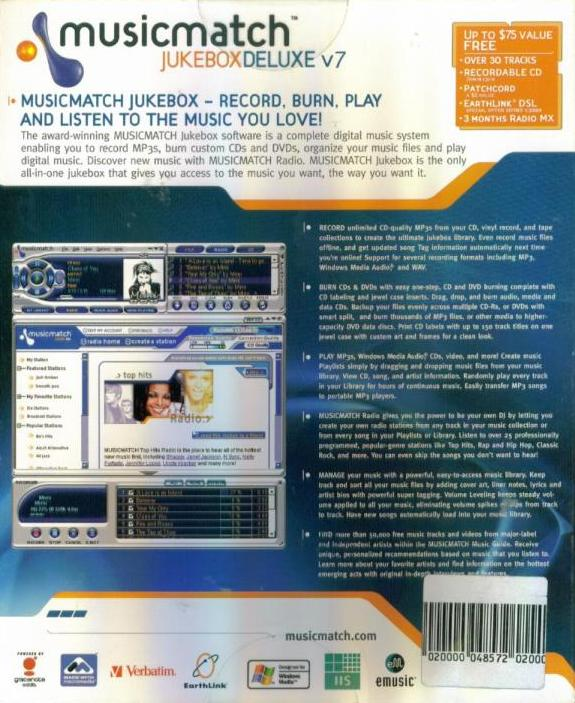 MusicMatch Jukebox 7 Deluxe PC CD sort edit tags listen to mp3 music