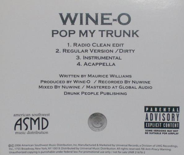 Wine-O: Pop My Trunk PROMO MUSIC AUDIO CD Radio Clean Edit