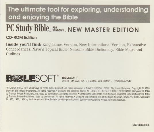 BibleSoft PC Study Bible: New Master Edition PC CD study