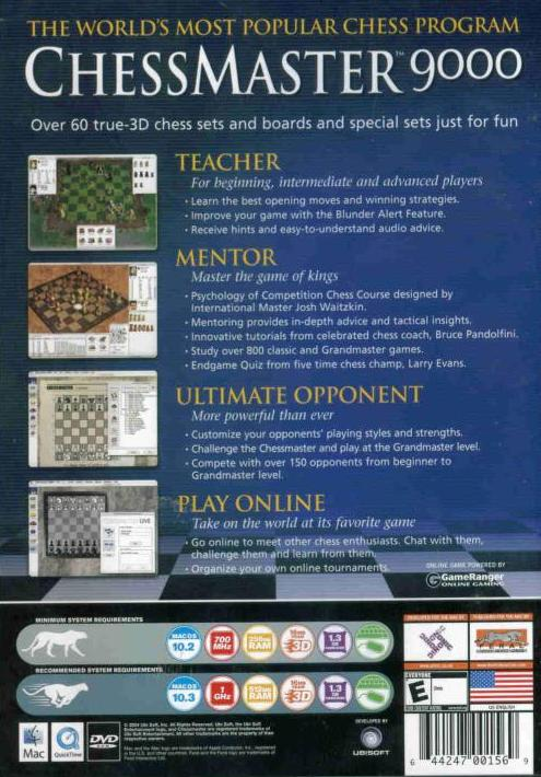 Details about Chessmaster 9000 + Manual MAC DVD popular chess opponent  strategy computer game!